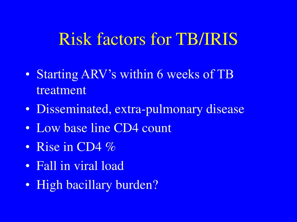 Risk factors for TB/IRIS
