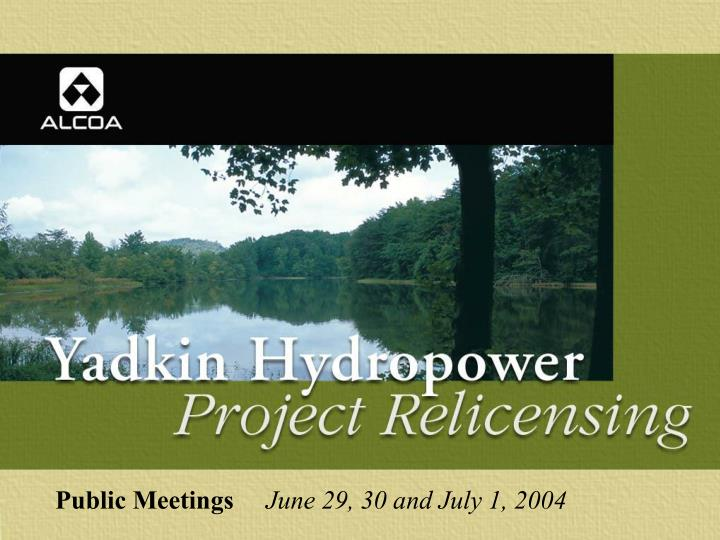 Public meetings june 29 30 and july 1 2004