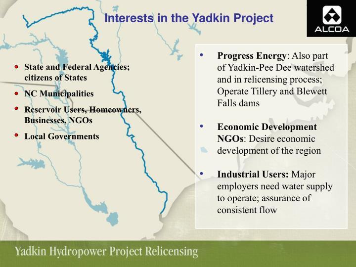 Interests in the Yadkin Project