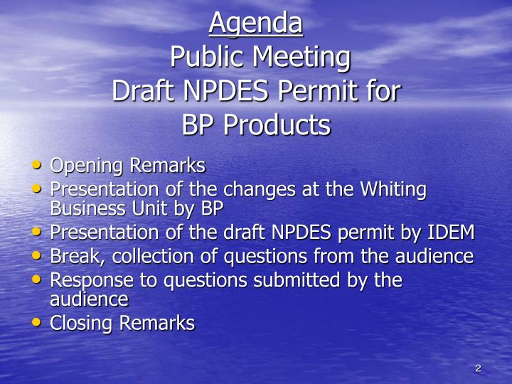 Agenda public meeting draft npdes permit for bp products