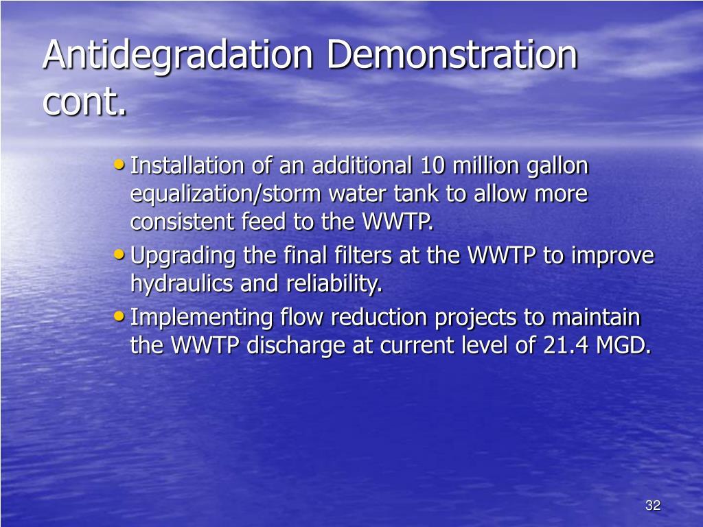 Antidegradation Demonstration cont.
