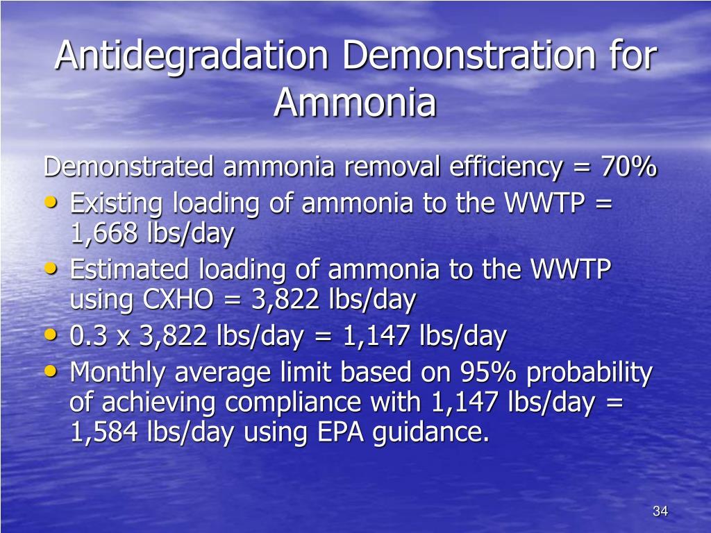 Antidegradation Demonstration for Ammonia