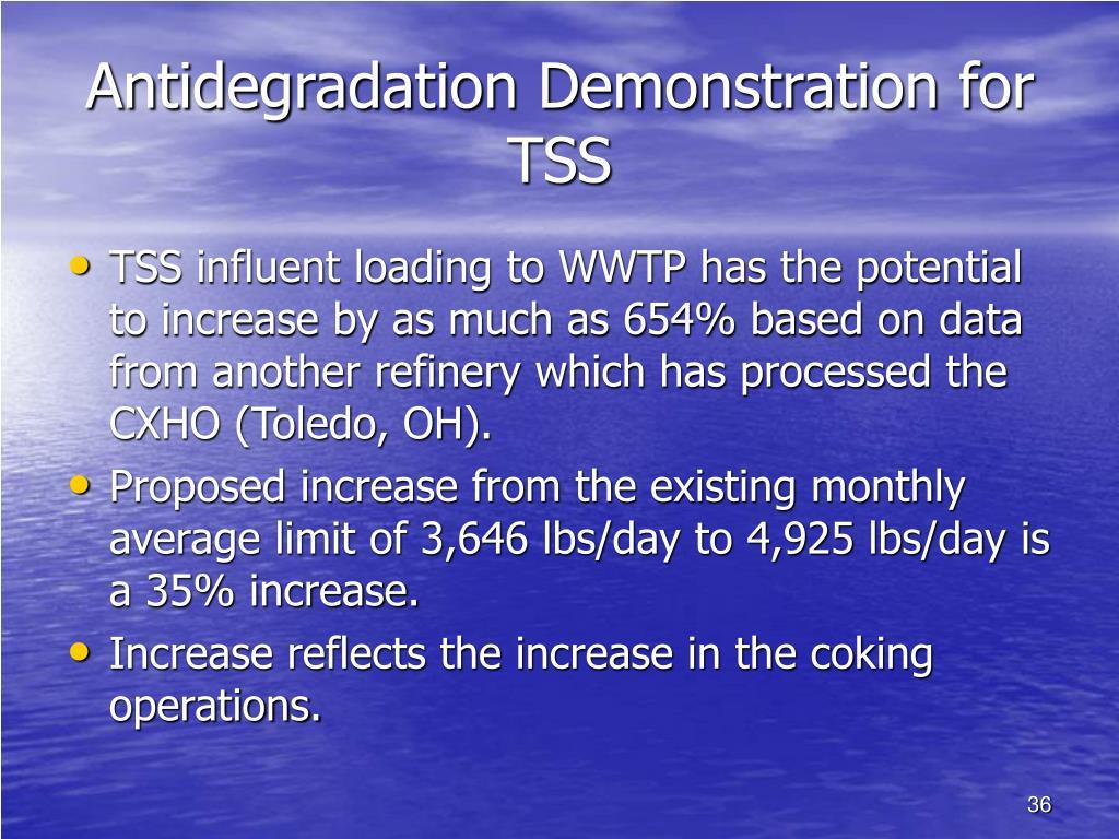 Antidegradation Demonstration for TSS