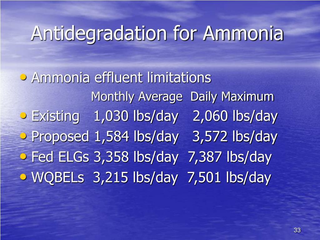 Antidegradation for Ammonia