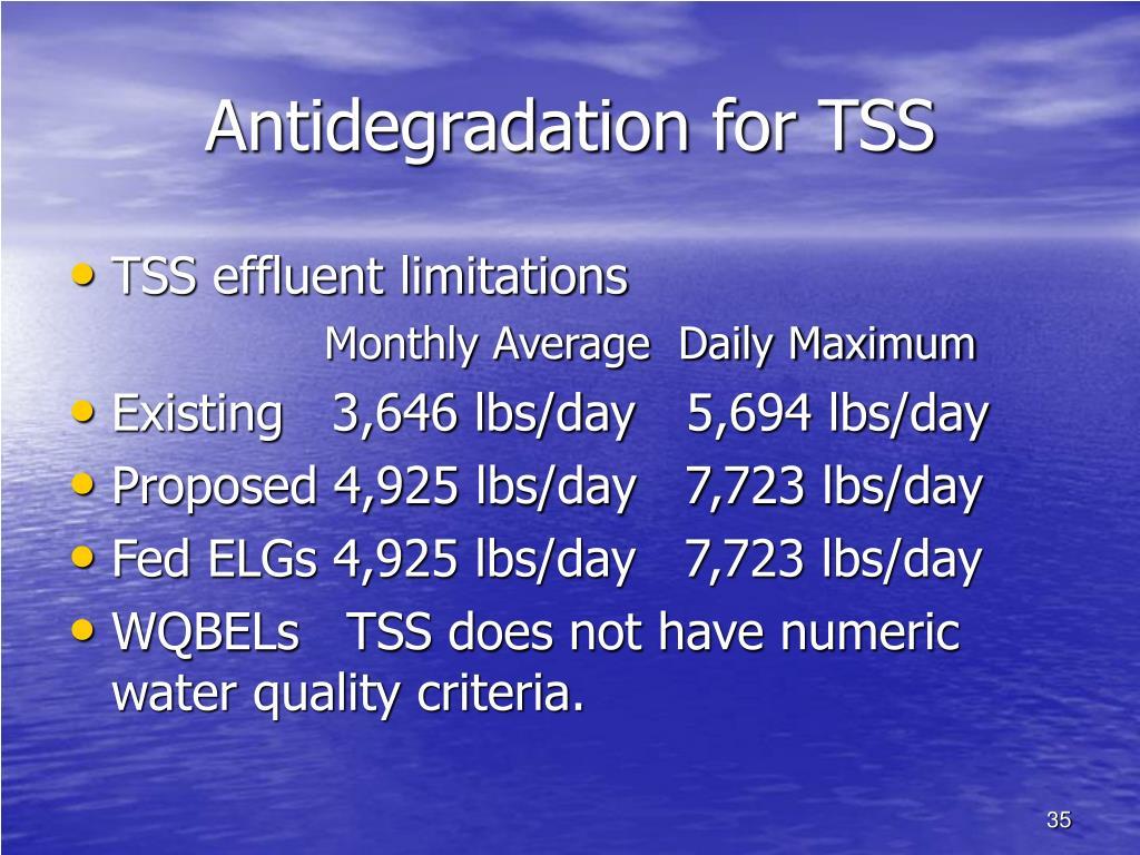 Antidegradation for TSS