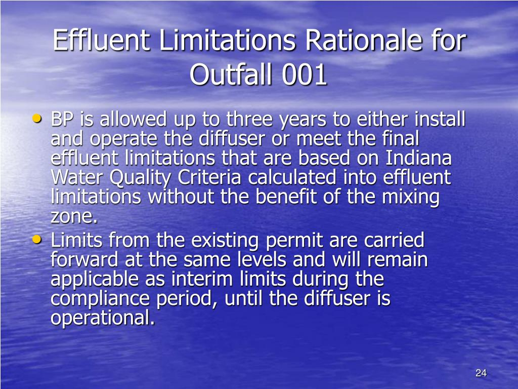 Effluent Limitations Rationale for Outfall 001