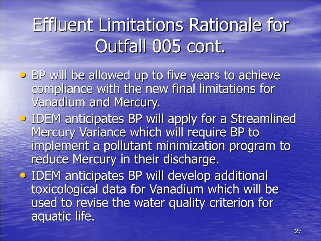 Effluent Limitations Rationale for Outfall 005 cont.