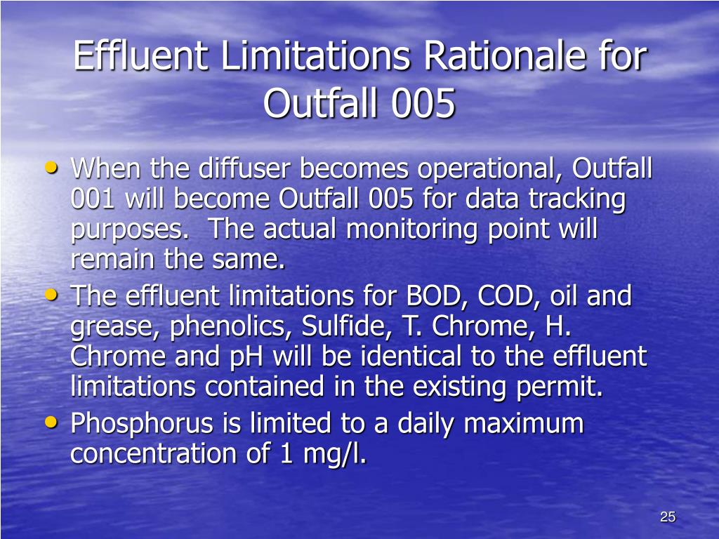 Effluent Limitations Rationale for Outfall 005
