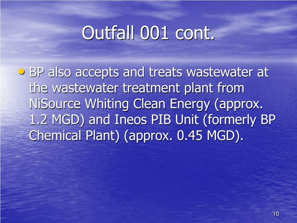 Outfall 001 cont.