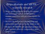 iboga alkaloids and meth scientific research