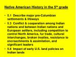 native american history in the 5 th grade