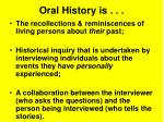 oral history is