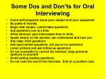 some dos and don ts for oral interviewing