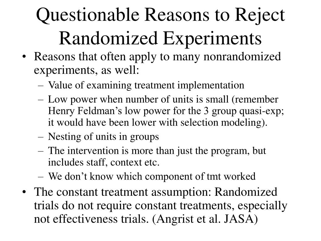Questionable Reasons to Reject Randomized Experiments