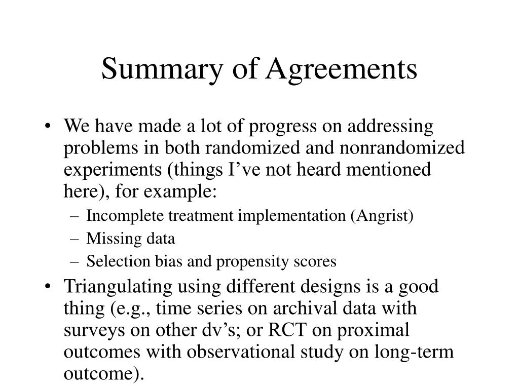 Summary of Agreements