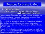 reasons for praise to god