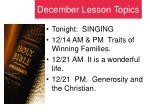 december lesson topics