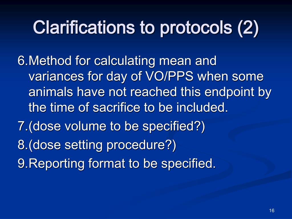 Clarifications to protocols (2)