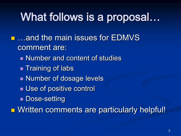 What follows is a proposal