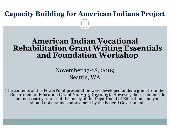 capacity building for american indians project n.