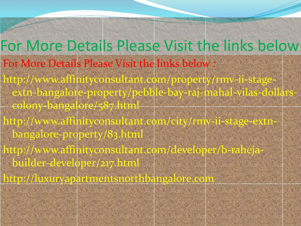 For More Details Please Visit the links below