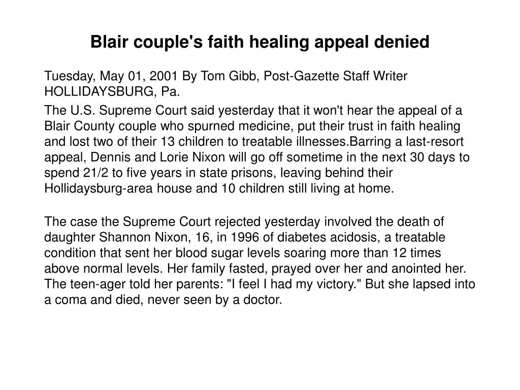 Blair couple's faith healing appeal denied