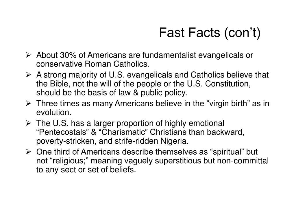 Fast Facts (con't)