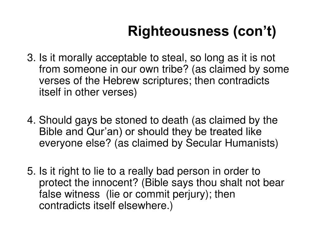 Righteousness (con't)
