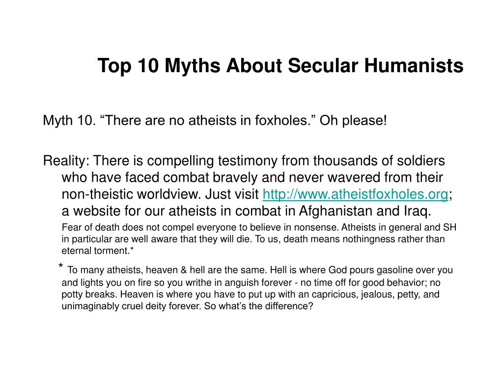 Top 10 Myths About Secular Humanists