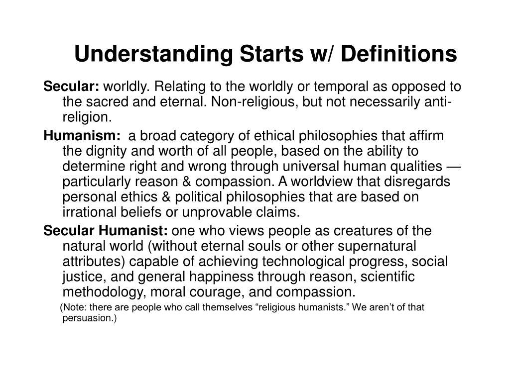 Understanding Starts w/ Definitions