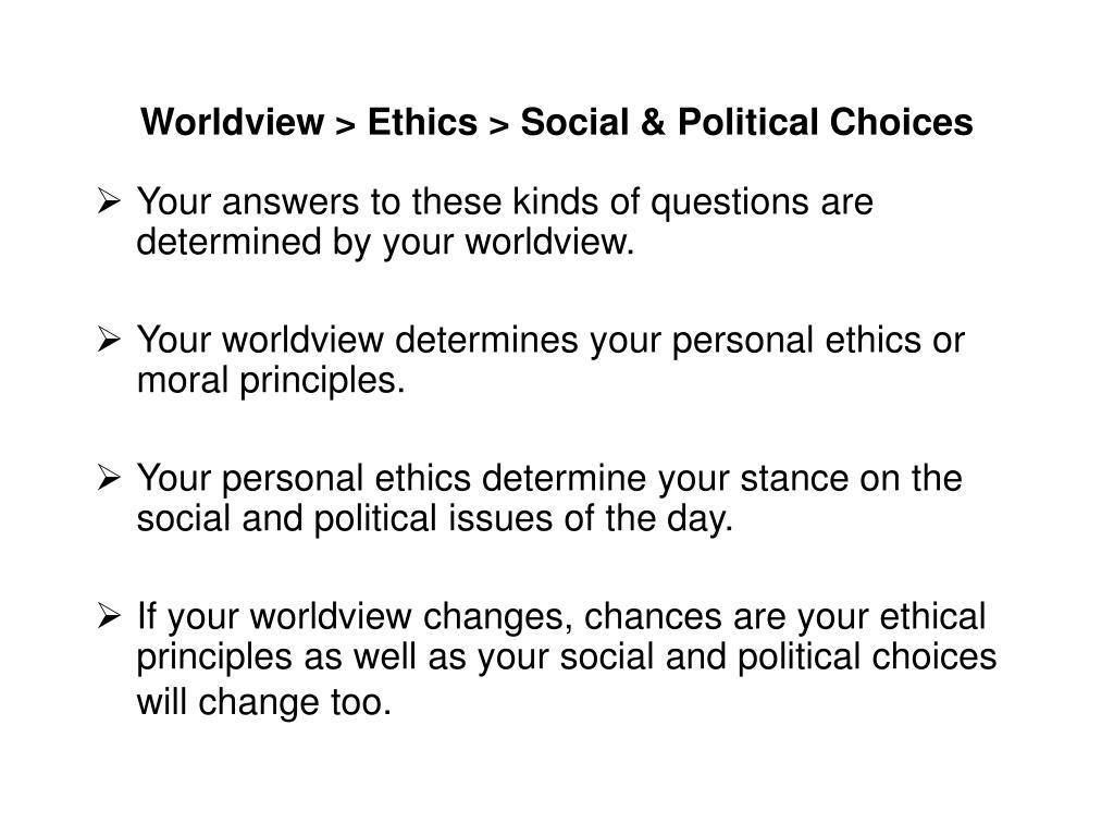 Worldview > Ethics > Social & Political Choices
