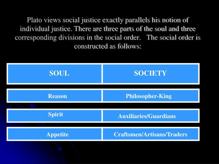 Plato views social justice exactly parallels his notion of individual justice. There are three parts of the soul and three corresponding divisions in the social order.   The social order is constructed as follows:
