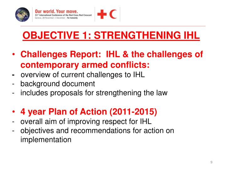 OBJECTIVE 1: STRENGTHENING IHL