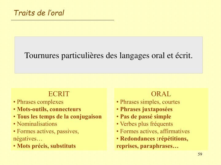 Traits de l'oral