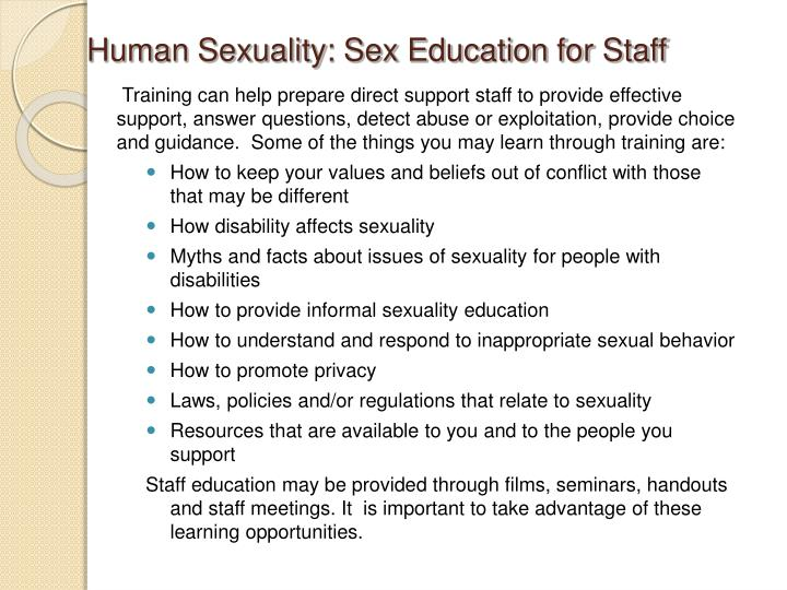 Human Sexuality: Sex Education for Staff