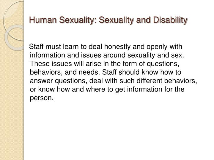 Human Sexuality: Sexuality and Disability