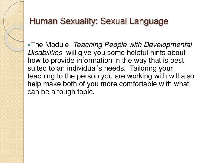 Human Sexuality: Sexual Language