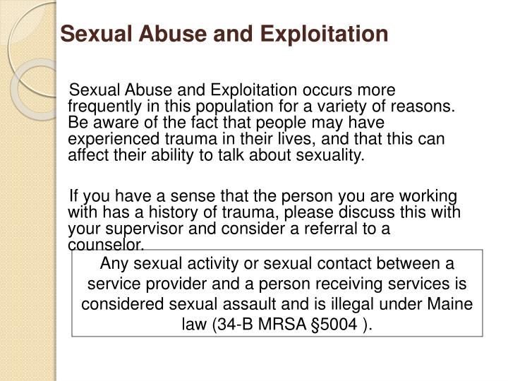Sexual Abuse and Exploitation