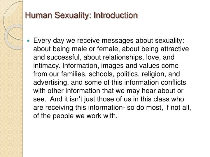 Human Sexuality: Introduction