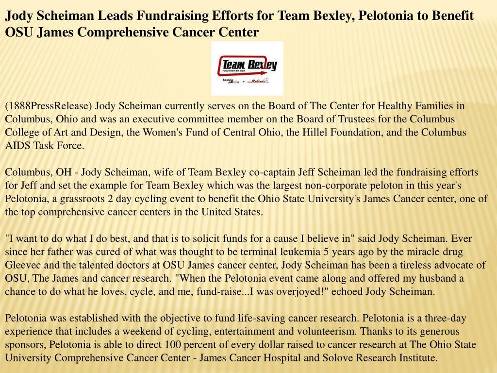 Jody Scheiman Leads Fundraising Efforts for Team Bexley, Pelotonia to Benefit OSU James Comprehensive Cancer Center