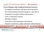 lack of communication the patient