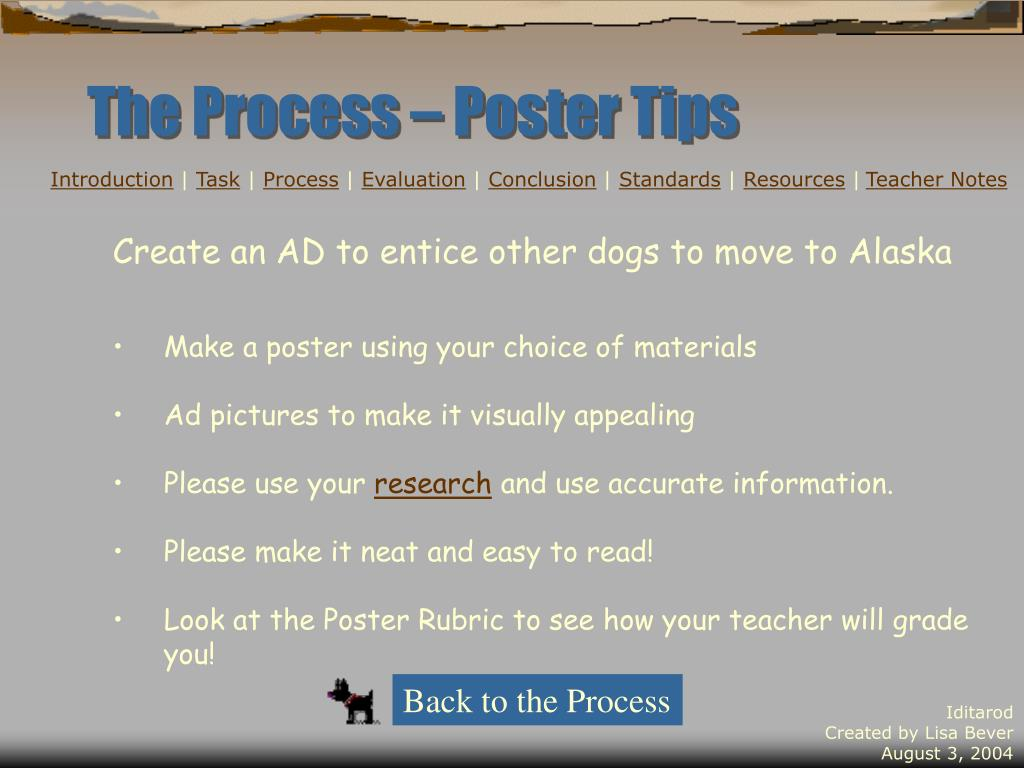 The Process – Poster Tips