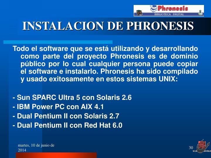 INSTALACION DE PHRONESIS