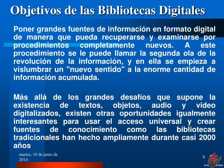Objetivos de las Bibliotecas Digitales