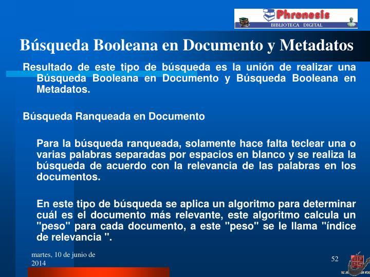 Búsqueda Booleana en Documento y Metadatos