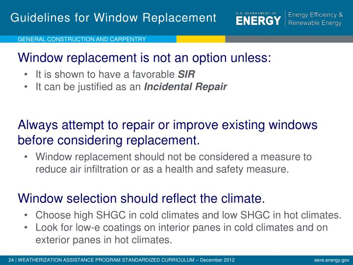 Guidelines for Window Replacement