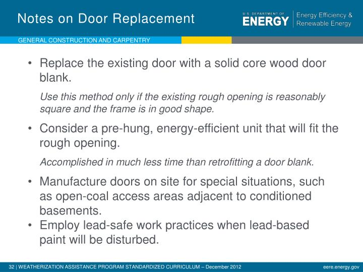 Notes on Door Replacement