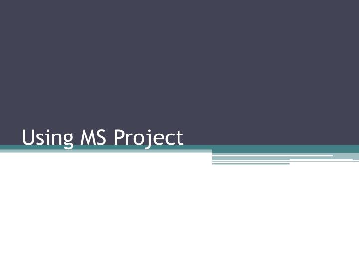 using ms project n.