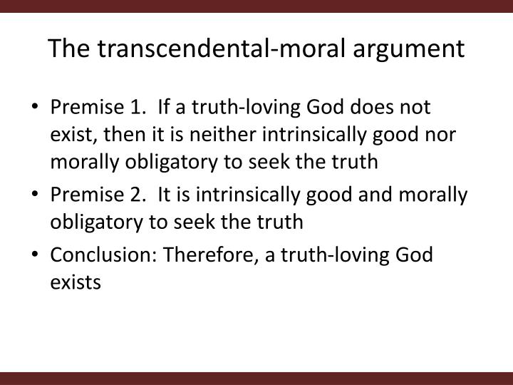 The transcendental-moral argument
