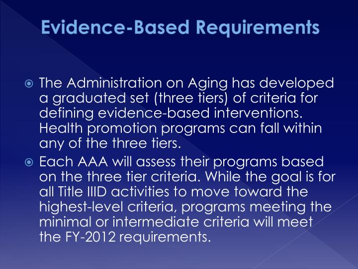 Evidence based requirements